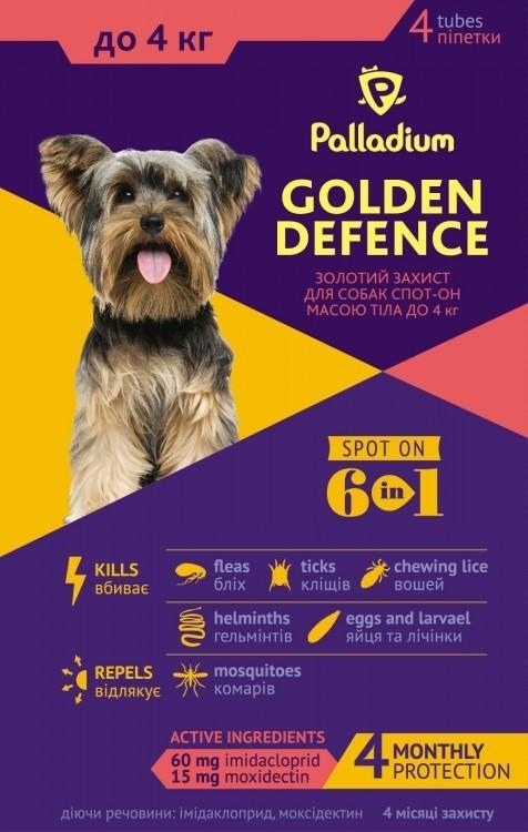 PALLADIUM ПАЛЛАДИУМ капли от блох и клещей для собак весом до 4 кг, 1 пипетка