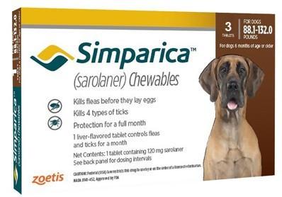 SIMPARICA Симпарика таблетка от блох и клещей для собак весом от 40 до 60 кг, 1 таблетка