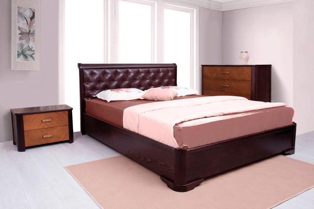 Кровать двуспальная Ассоль венге, мягкое изгловье ромб