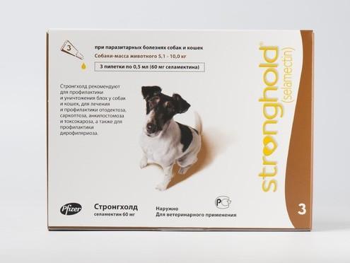 STRONGHOLD Стронхолд 60 мг для собак від 5.1 до 10 кг краплі на холку 1 піпетка