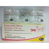 SYNULOX Синулокс 250 мг- противоинфекционный препарат для кошек и собак, 10 таблеток по 250 мг