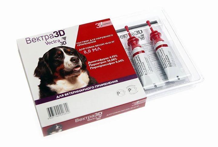 ВЕКТРА 3Д краплі від бліх та кліщів для собак від 40 до 65 кг 3*8 мл