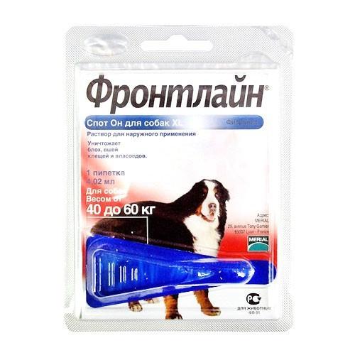 ФРОНТЛАЙН СПОТ-ОН капли от блох и клещей для собак от 40 до 60 кг монопипетка