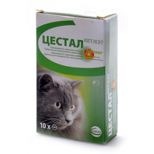 ЦЕСТАЛ КЕТ таблетки от глистов для кошек 1таблетка