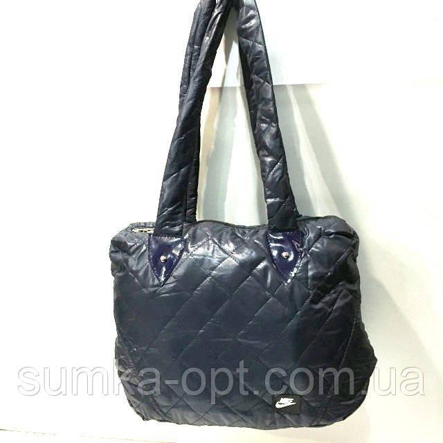 Стеганные женские сумки (синий глянец)28*31см
