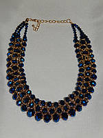 Ожерелье на шею, переплетение синих камней 000725