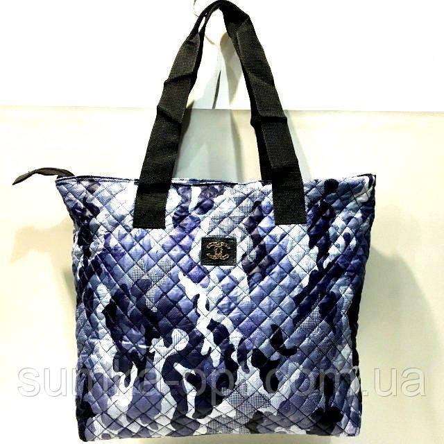 Стеганные женские сумки +карман по бокам (синий камуфляж)34*46см