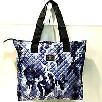 Стеганные женские сумки +карман по бокам (синий камуфляж)34*46см, фото 1