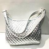 Стеганные женские сумки (серебро)24*32см, фото 3