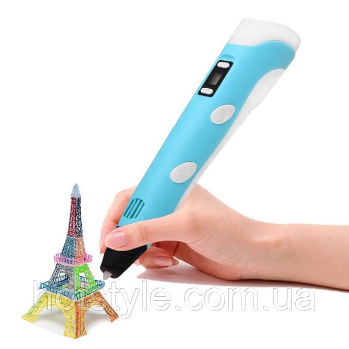 3д Ручка 3D + 30м пластика в подарок,голубая