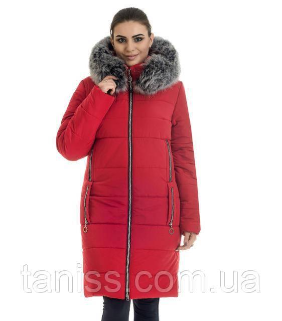 Зимний, стильный пуховик  с капюшоном ,мех песец,  утеплитель силикон, размеры с 42 по  56, красный (47)