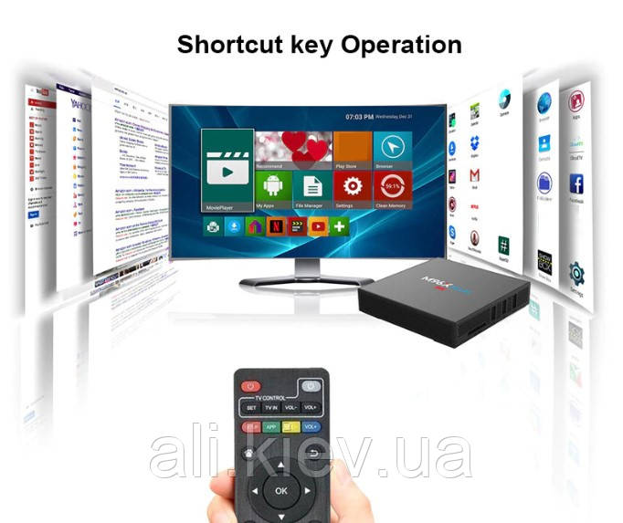 ТВ-смарт бокс M96X Plus, 8 ядер Amlogic S912 + 2/16ГБ 4USB, Bluetooth Wi-Fi HDMI Android 7.1