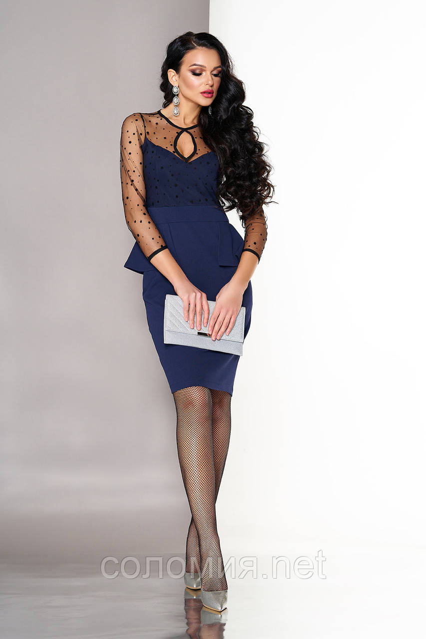 Нарядное Платье с баской и вставками из принтованной сетки 44-50р