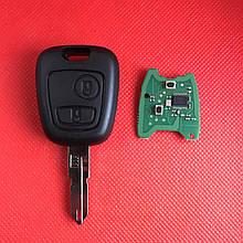 Ключ  Пежо  PEUGEOT   2 кнопки, с чипом ID46, PCF 7941, 433 Mhz, лезвие NE73