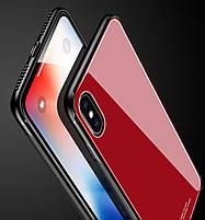"""Накладка iPhone X """"Glass Case"""" Красная, фото 4"""