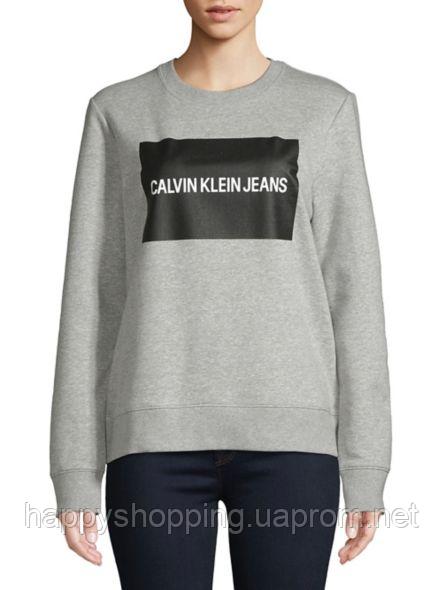 Женский серый свитшот с принтом Calvin Klein Jeans