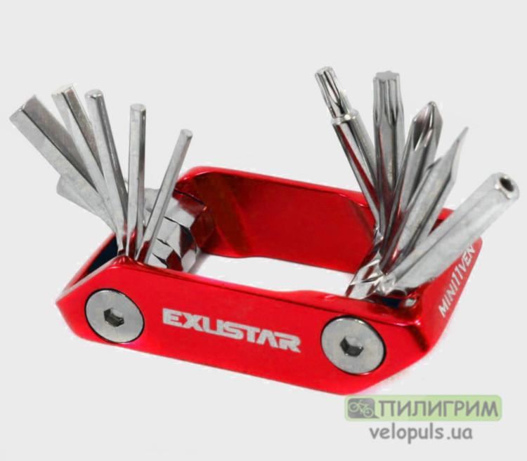 Мультитул велосипедный - Exustar E-T15, Pro (11 инструментов) Красный
