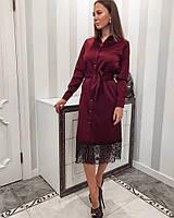 Женское шикарное платье из атласа с французским кружевом