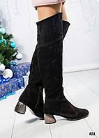 Ботфорты женские на оригинальном каблуке, фото 1
