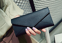 Женский черный кошелек на кнопке, фото 1