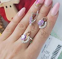 """Серебряный комплект """"Марта"""" кольцо и серьги с золотыми накладками женский, фото 1"""