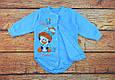 Теплый новогодний боди для мальчика Голубой начес, фото 3