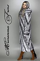 Искусственная шуба.  М - 102, цвет: Серо-голубая норка № 47