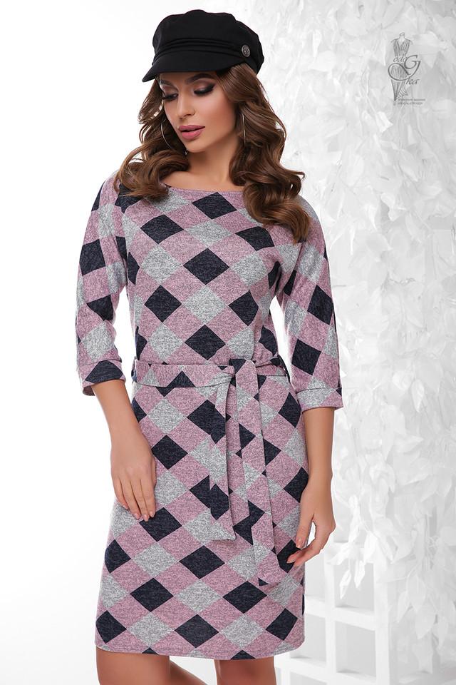 Пудровый цвет Ангорового женского платья Мелани Клетка