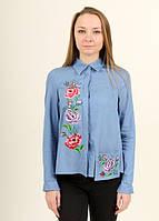 Женская батистовая рубашка вышитая цветочной вышивкой гладью
