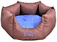 Лежак Noble Pet Paul диаметр 55 см Коричнево-синий P2102 55, КОД: 218788