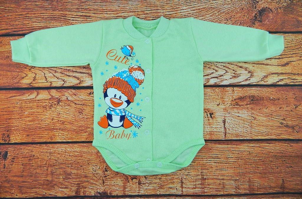 Детский новогодний боди теплый с начесом Зеленый