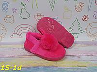 """Детские комнатные тапочки меховые очень теплые """"Зайчики"""" ярко розовые"""