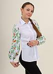 Белая хлопковая рубашка для женщин  с вышитыми рукавами, фото 2