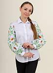 Белая хлопковая рубашка для женщин  с вышитыми рукавами, фото 3