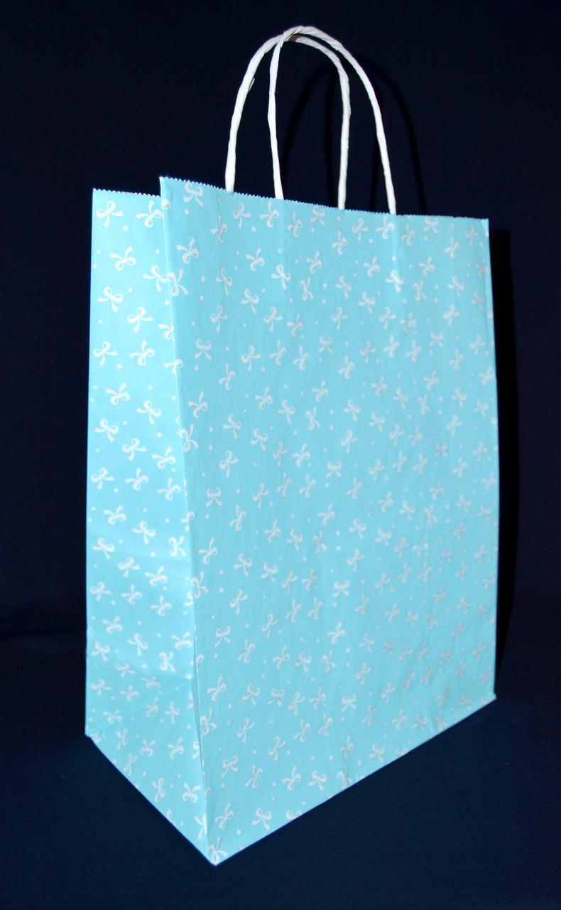 """Бумажный подарочный пакет с кручеными ручками """"Бантик голубой"""" 335х260140"""