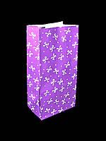"Бумажный подарочный пакет ""Фиолетовый бантик"" 190х95х65"