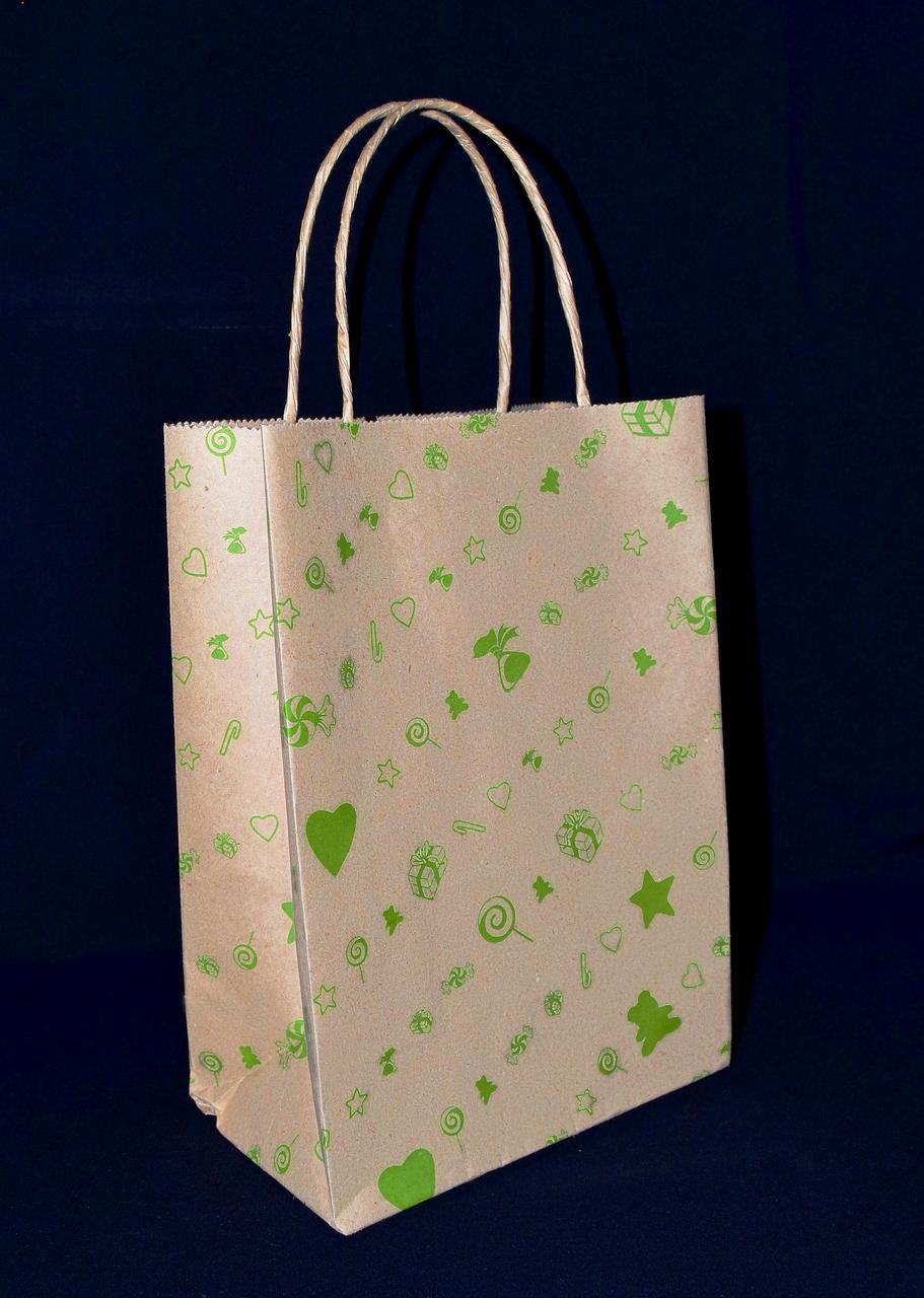 """Бумажный подарочный пакет с кручеными ручками """"Подарок зеленый"""" 230х170х90"""