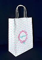 """Бумажный подарочный пакет с кручеными ручками """"Цветной Горошек"""" 290х210х115"""
