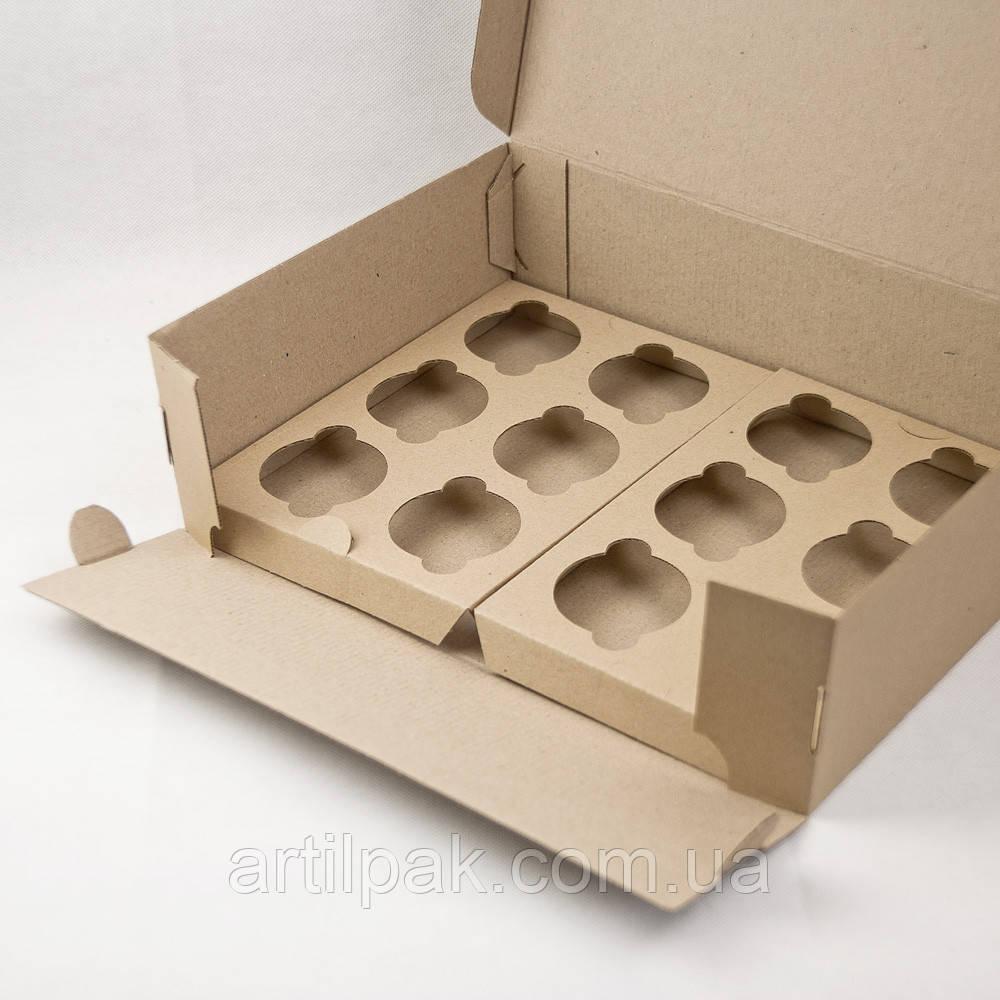 Коробка для 12 кексів, маффінів, капкейків 340*255*100 БУРА Нова  Коробка для кексов, маффинов, капкейков