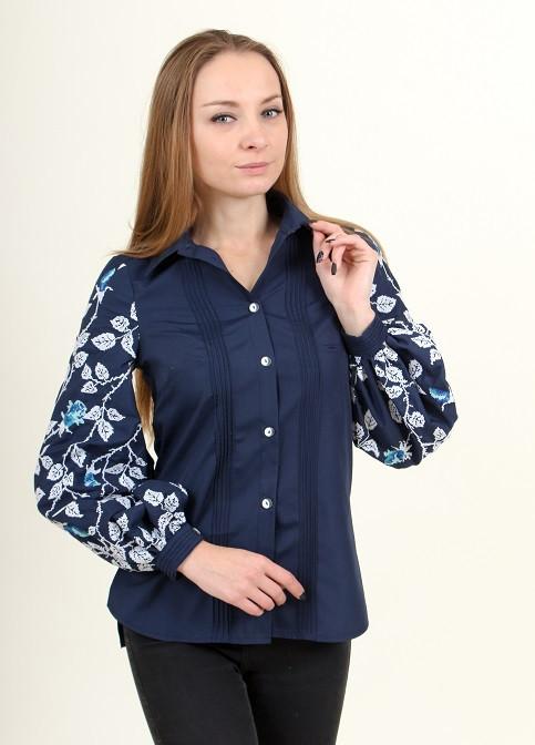Хлопковая рубашка женская с вышивкой на рукавах