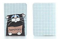 Кожаная обложка на паспорт StVeles Котенок