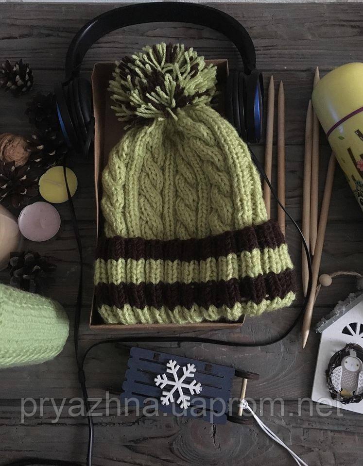 5e51cb53e84a Вязаная шапка с помпоном, яркая вязаная шапочка, зимняя теплая шапка,  модная ...