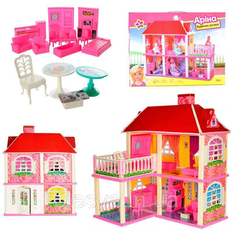 Домик 2 этажа 5 комнат, размеры 83,5- 70- 25,5 см, супер подарок для девочек