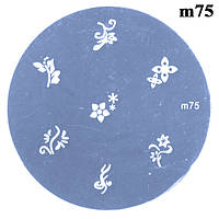 Диск для Стемпинга Круглый m75 Цветы для Nail Art