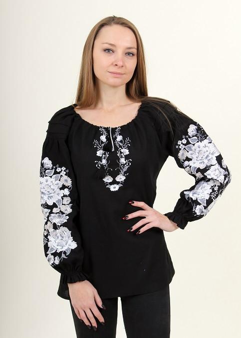 Шикарная черная льняная блуза вышитая белым орнаментом гладью