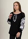 Шикарная черная льняная блуза вышитая белым орнаментом гладью , фото 2