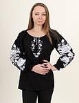 Шикарная черная льняная блуза вышитая белым орнаментом гладью , фото 3