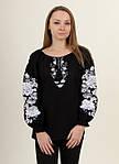 Шикарная черная льняная блуза вышитая белым орнаментом гладью , фото 4