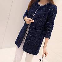Женский синий вязанный кардиган с карманами для худеньких девушек, фото 1