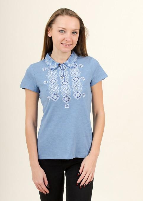 Женская вышитая футболка воротник-поло